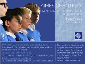 Affiche Recrutement Petits Chanteurs de Bordeaux